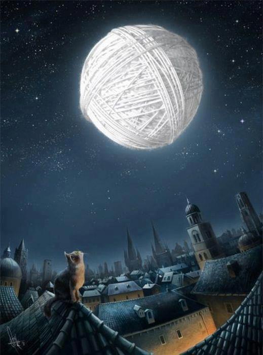 luna sui tetti