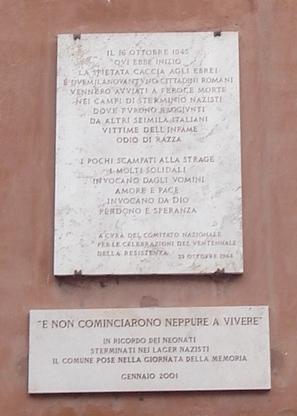 Lapide commemorativa della deportazione del 16 ottobre 1943