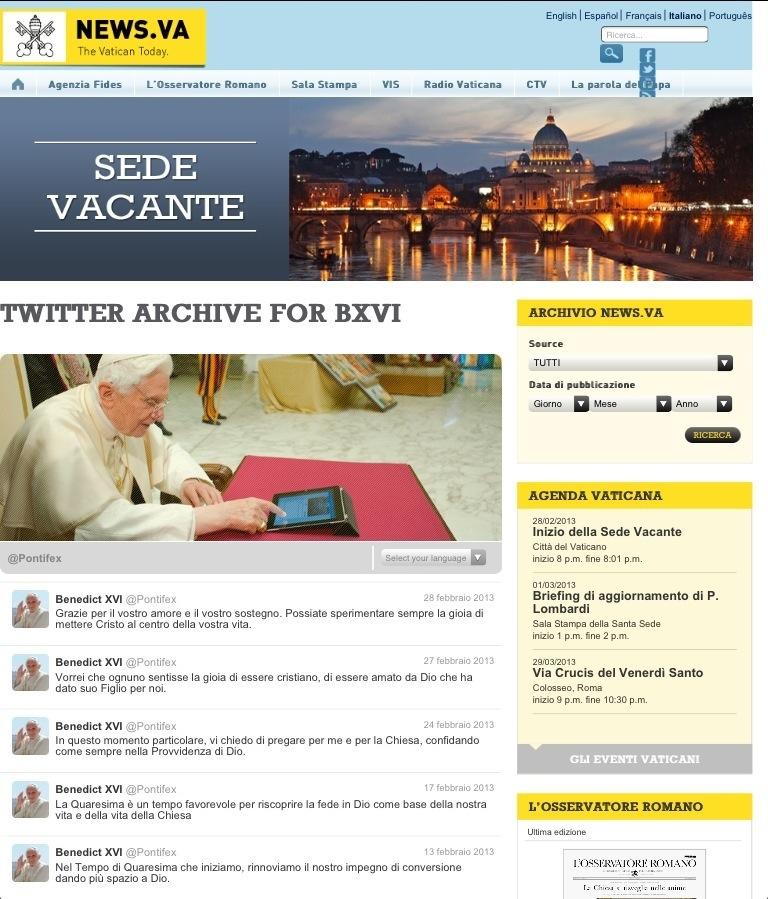 home page del sito delle news del Vaticano