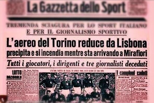 testata Gazzetta dello Sport con notizia della tragedia
