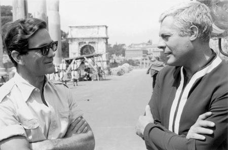 Pier Paolo Pasolini e Marcello Mastroianni