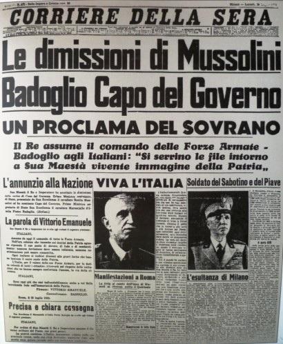Corriere della Sera - le dimissioni di Mussolini