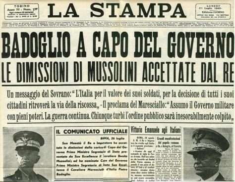 La Stampa - le dimissioni di Mussolini